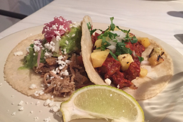 78209 Oct 2015 Flair L to R Puerco Al Pastor Taco and Carnitas Taco