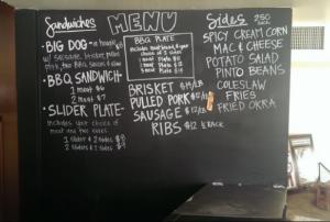 menu at smoke shack