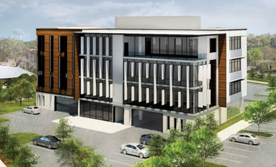 Rendering of proposed 4 story commercial building at 200 Austin Highway