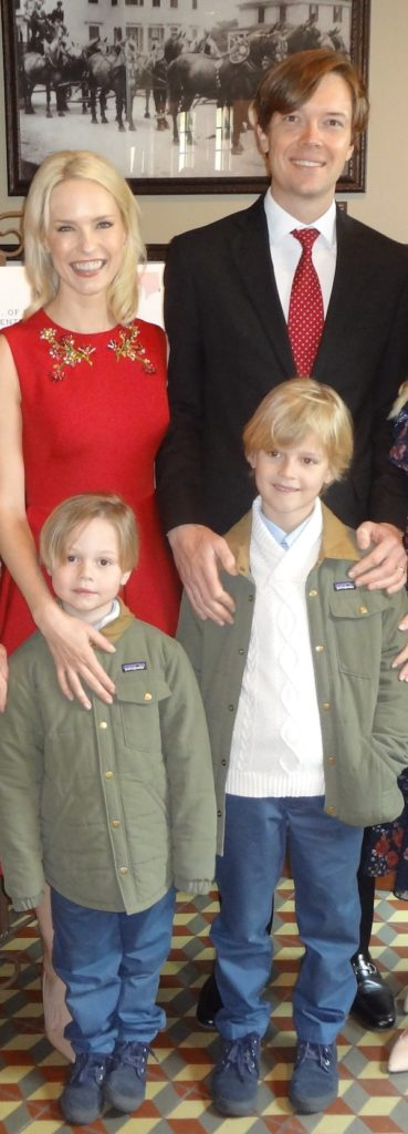 Honoree Emilie Herrmann Petty and husband Chris Petty with sons Gus and Hil