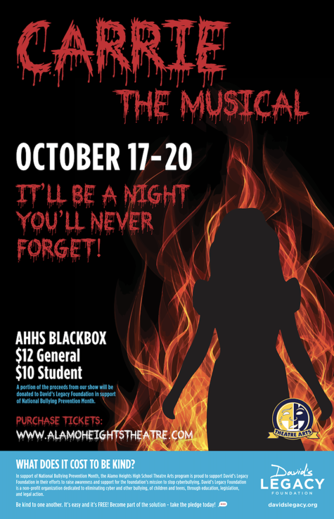 Poster for Carrie the Musical at Alamo Heights High School Theater