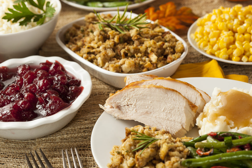 Typical American Thanksgiving foods on the table