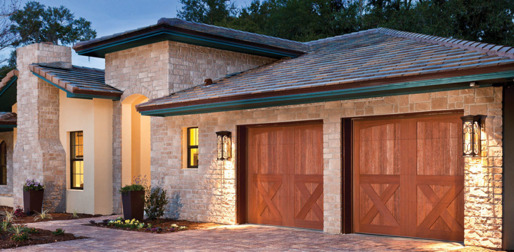 light brick home with double car garage